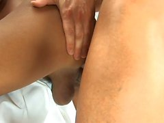 Hot tranny nurse takes stud's temperature by sucking his cock
