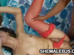 Petite shemale Sabrina Kamoei teasing two cocks at a time