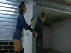 Tranny cop puts her cock in his ass