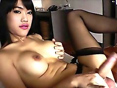 Ladyboy Bee jacks off her oriental dick