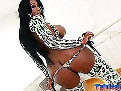 Huge tits black Tgirl Jackeline analized