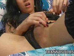 Sabrina Kamoei Hot Tranny Tugging Her Thick Tool