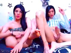 Brunette Tgirl plays with sex toys