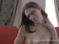 Slim TS Michelle Tranny Jacking Off in Fishnet Stockings Anal Shemale