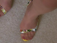 FF stockings and open toe Dorsay pump lots of shoe play
