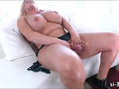 Slightly fat shemale vixen Holly Sweet explodes her hot jizz
