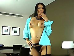 Lusty asian shemale Fanta strokes her big hard dick