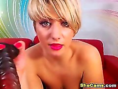 Hot Blonde Shemale Jerking on the Couch