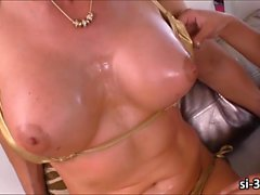 Lusty blonde TS Delia DeLions rips pussy and shoots cum